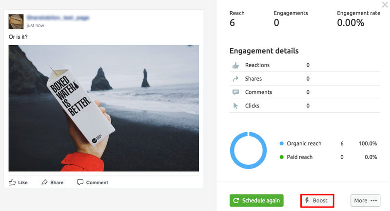 Example of setting up a social post on SEM Rush