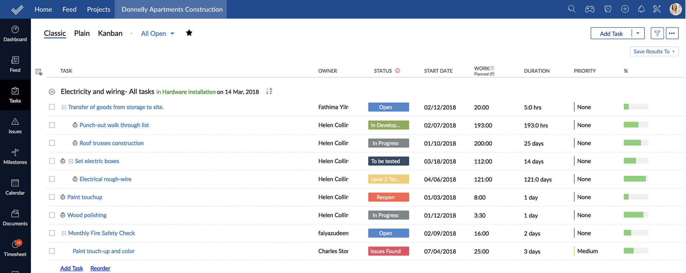 Screenshot example of task list in Zoho Projects
