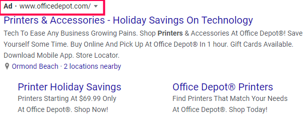 Example office Depot Ad