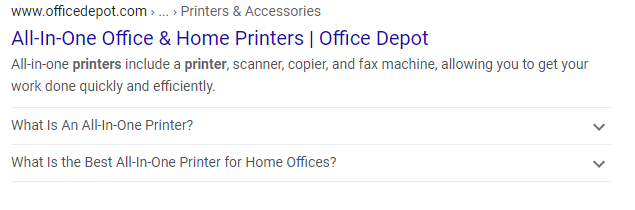 Organic Office depot search result
