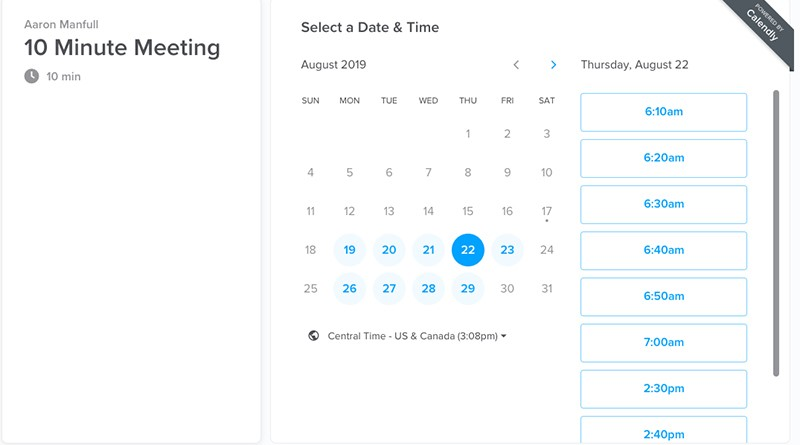 Screenshot of scheduling a meeting on Calendly