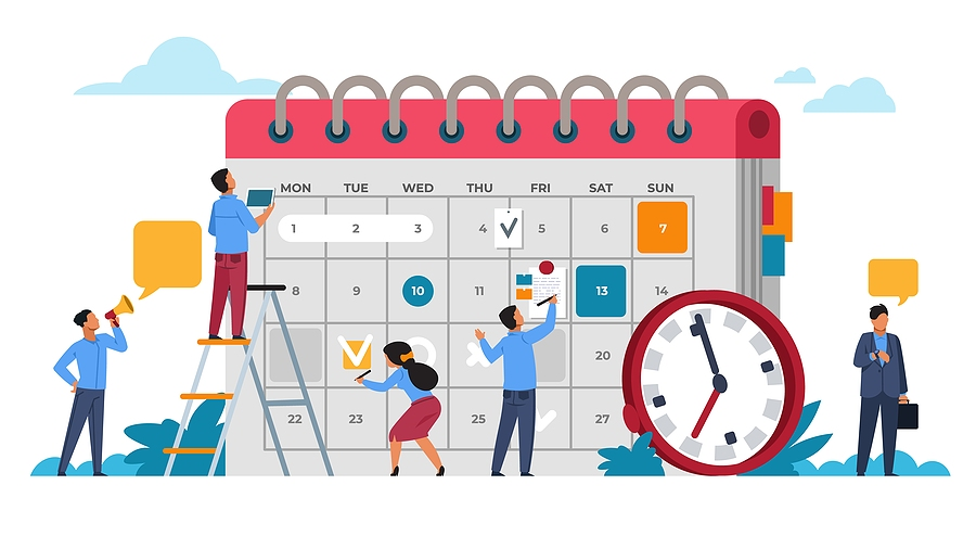 Cartoon image of people adding events to a calendar